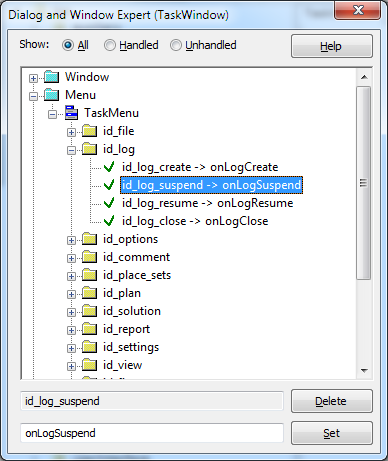 Add menu handling events to the task window.